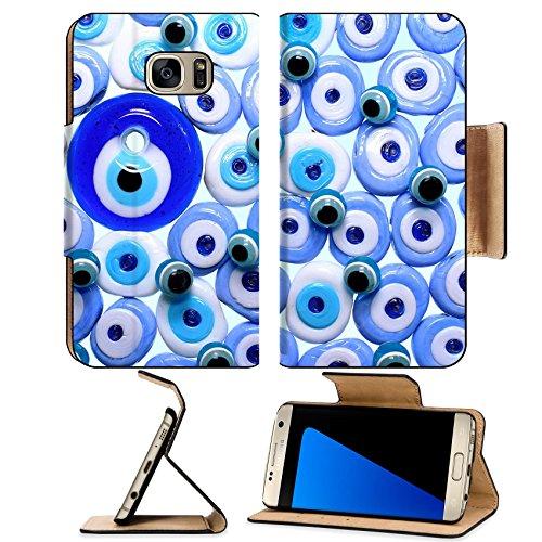Luxlady Premium Samsung Galaxy S7 EDGE Flip Pu Leather Wallet Case IMAGE ID: 26821714 Evil eye amulets With Isolated White Background]()