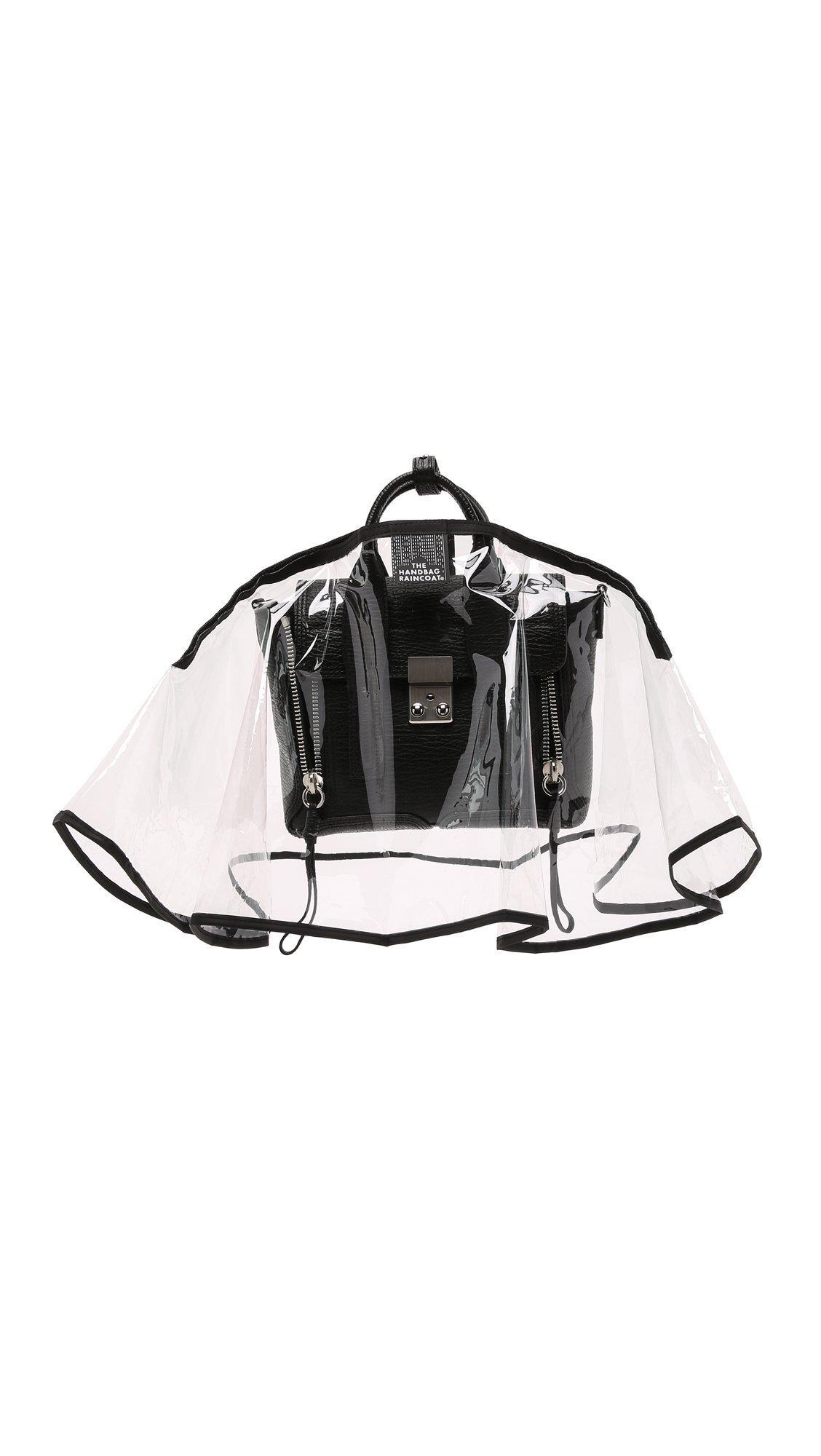 The Handbag Raincoat Women's Mini City Slicker Handbag Raincoat, Clear/Black, One Size
