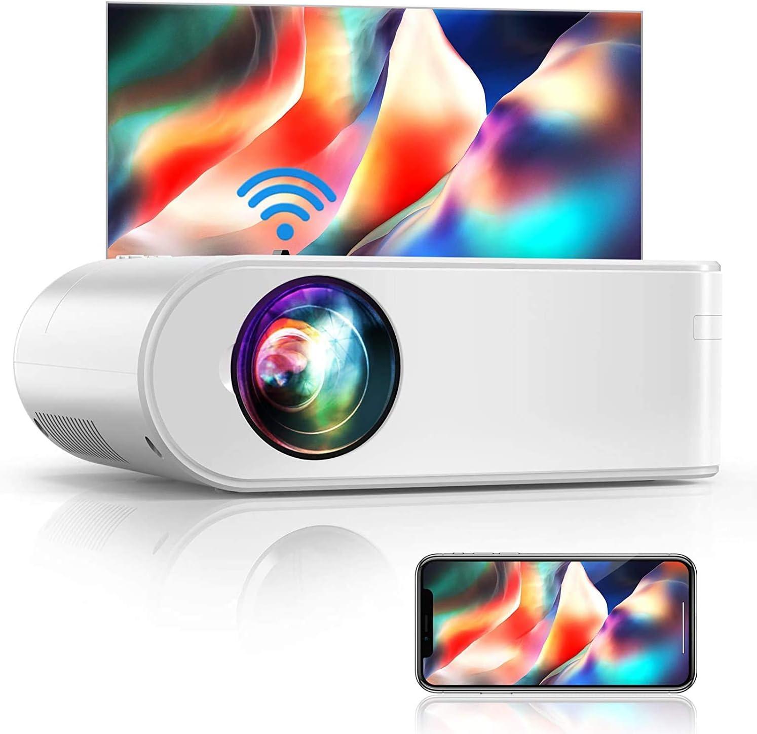 Proyector WiFi, YABER Mini Proyector Portátil 5800 Lúmenes 1080P Full HD[Pantalla de Proyector Incluida], Cine en Casa 200