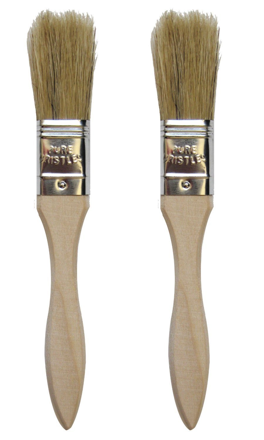 "Chef Craft 20393-2PK Set of 2 Natural Pastry Brushes, Wood Handle, 7.5"" 1.6"" Long Pure Bristles, Silver 1 Set of 2 natural bristle pastry brushes, wood handle, 7. 5"" Long with 1. 6"" Long pure bristles"