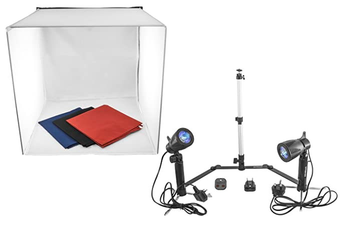 Kit studio fotografico da tavolo softbox cubo still life luci