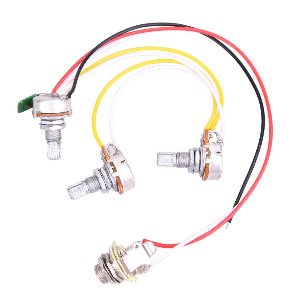 Alloet 1 Set Electric Guitar Wiring Harness-Prewired 2V1T1J for JB Bass Guitar with 3-500k Pots