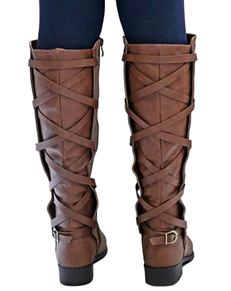 Syktkmx Womens Lace up Strappy Knee High Winter Motorcycle Riding Low Heel Winter High Leather Boots B07D6GPFPH 11 B(M) US|1-brown 79944f