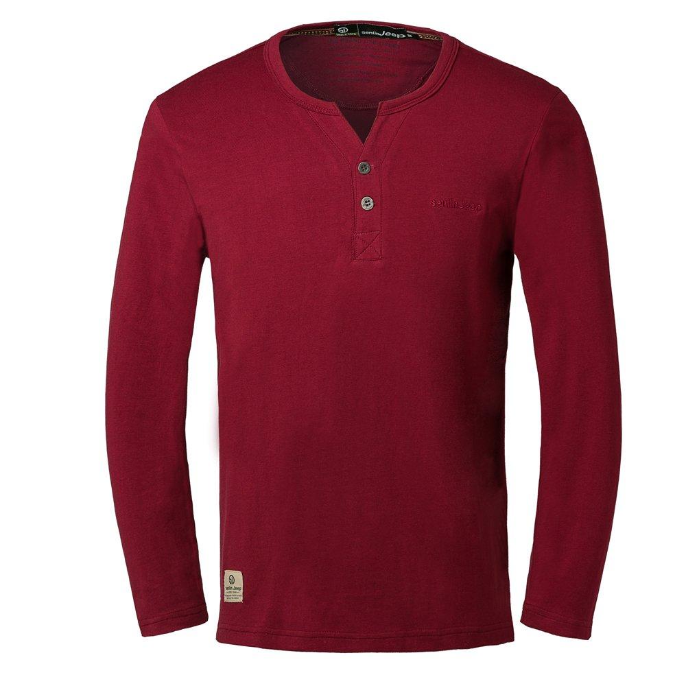 SlJeep Men's Cotton Fashion Brand Casual Slim Fit V-neck Long Sleeve T shirt Size M Color Crimson