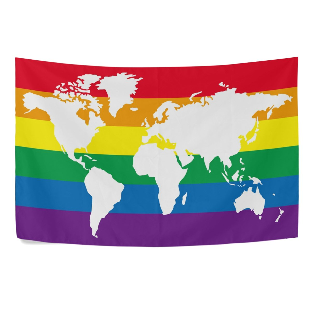 Amazon Com Alaza World Map Colorful Rainbow World Polyester Dorms