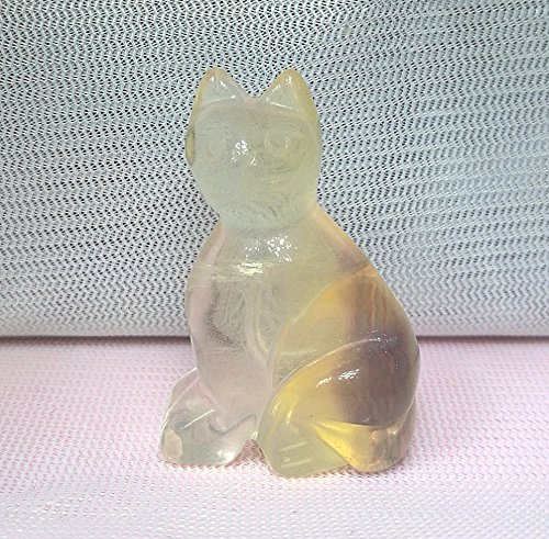 経典 1個1.5 – – 1.6 inchs Gemstone Cat Statue Gemstone stone Figurine Collectible 36 – 38 mm、ホーム&車の pop stone B07D7CN19R Yellow Fluorite, 造園資材専門店 安行緑化資材:506e9f66 --- arcego.dominiotemporario.com