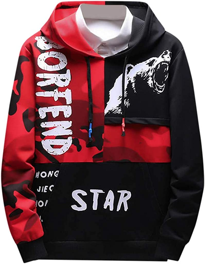 Siviki Men Hoodie,Cotton Blend Letter Hooded Sweater Stitching Color Splice Drawstring Closure Halloween Long Sleeve
