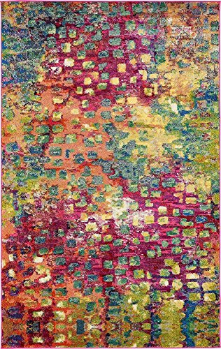 Unique Loom Jardin Collection Colorful Abstract Multi Area Rug (5' 0 x 8' 0) ()