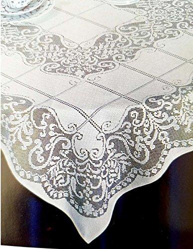 "New Ecru /  Cream Color  Lace Tablecloth. Style - Malaga - 40"" x 40"" Square (Ecru/Beige)"