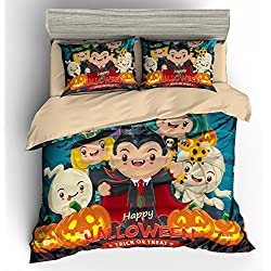 BOMCOM 3D Digital Printing Vintage Halloween Witch Pirate Vampire Witch Mummy Vampire Cat 2-Piece Duvet Cover Sets 100% Microfiber Cartoon(twin, Happy Halloween Characters)