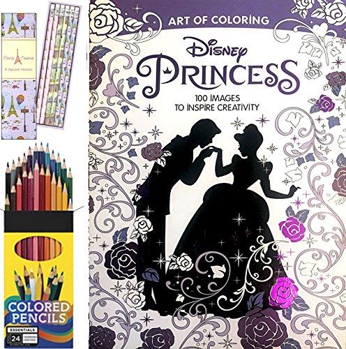 Art of Coloring Princess Book 100 Images + Colored Pencils & Paris Je T'aime 6 Stylish Pencils Series Set