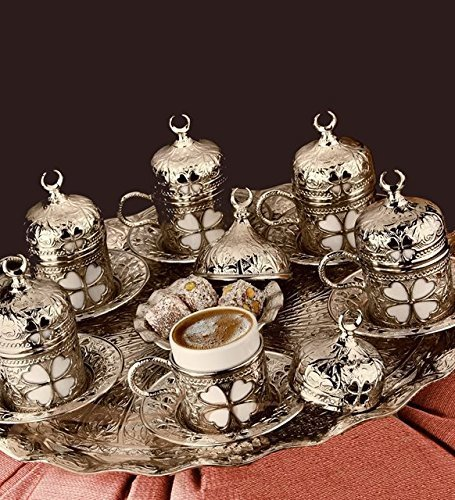 27 Pieces Turkish Greek Coffee Espresso Set for Serving - Porcelain Cups with Tray and Saucers - Best Tulip Design Ottoman Arabic Gift Set, Silver