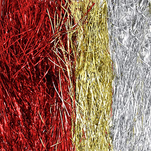 Gift Boutique Christmas Tree Tinsel Icicles Total 6000 Strands Includes 1000 Silver Icicles, 1000 Gold and 4000 Red Strands for Christmas Tree and Holiday Decorating