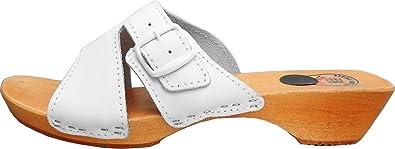 HOLZ (e) CLOGS - Pantolette Gr.36 37 38 39 40 41 WEISS Echt Leder (Made in Poland.23-03.4-81)
