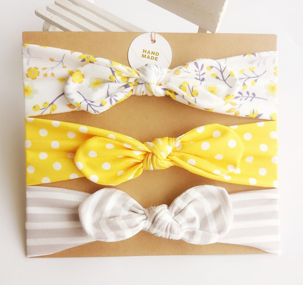 DANMY Baby Girl's Rabbit Ears Headband Cotton Cloth Elastic Hair Band Bow Boy Soft Turban (6pcs Bow(as Shown)) by DANMY (Image #2)