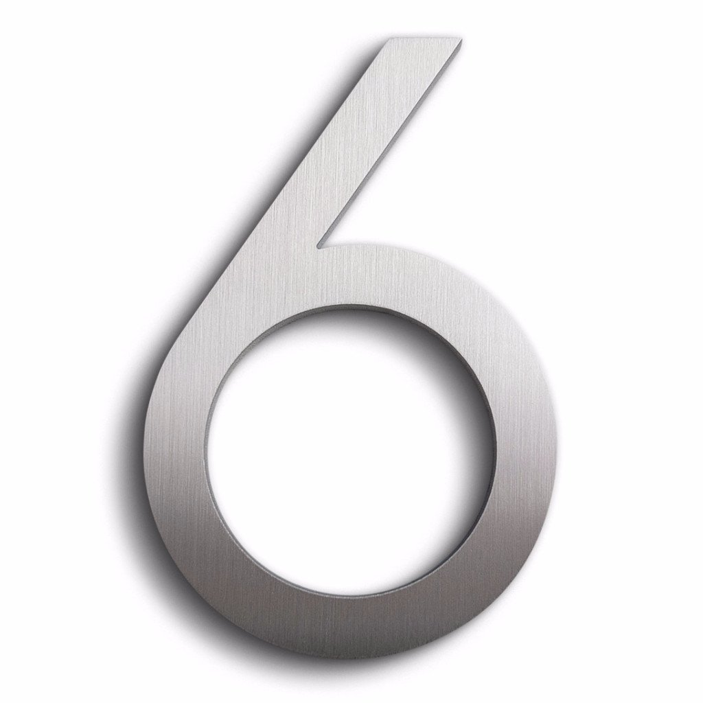 Modern House Number Aluminum Modern Font Number Six ''6'' 6 inch