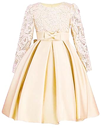 10fe75478d101 ZaH Big Little Girl Party Dress Flower Girl Christmas Gowns(Champagne,4-5Y
