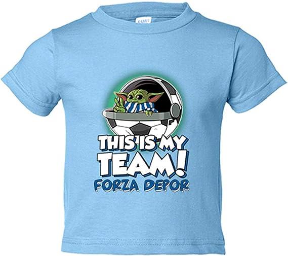 Camiseta niño parodia baby Yoda mi equipo de fútbol Forza Depor - Celeste, 9-11 años: Amazon.es: Bebé