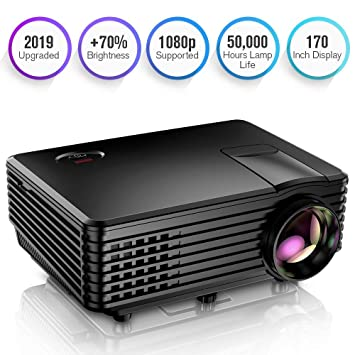Proyector, Mini Proyector TENKER RD805, Portable Home Cinema HD LED Vídeo Proyector de Películas Soporte 1080P USB VGA HDMI AV, Compatible con TV ...
