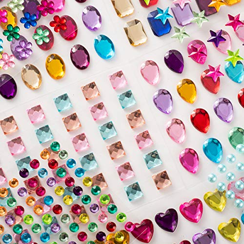 PIXRIY 525 Pcs Self Adhesive Jewels Stickers,Multicolor Flatback Rhinestone Sticker Gems, Assorted Craft Jewels Crystal Sticker,Assorted Size