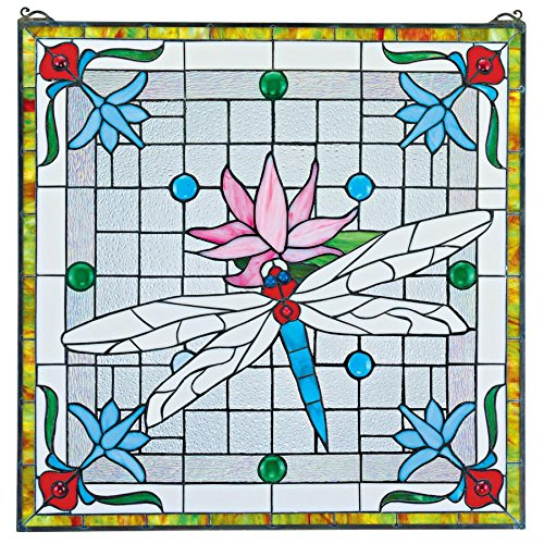 Stained Glass Panel - Dragonfly Pond Stained Glass Window Hangings - Window Treatments