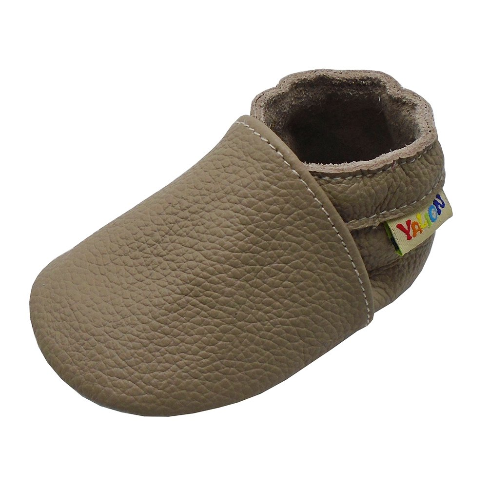 Yalion Baby Boys Girls Shoes Crawling Slipper Toddler Infant Soft Leather First Walking Moccs(Dark Beige,0-6 Months)