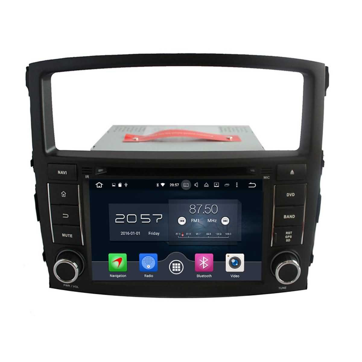 2 Din 7 pouces Android 6.0 OS stéréo de voiture pour Mitsubishi Pajero 2006 2007 2008 2009 2010 2011 2012 2013,DAB+ radio 1024x600 écran tactile capacitif Cortex A53 8 Core 1.5G CPU 2G DDR3 RAM 32G Flash