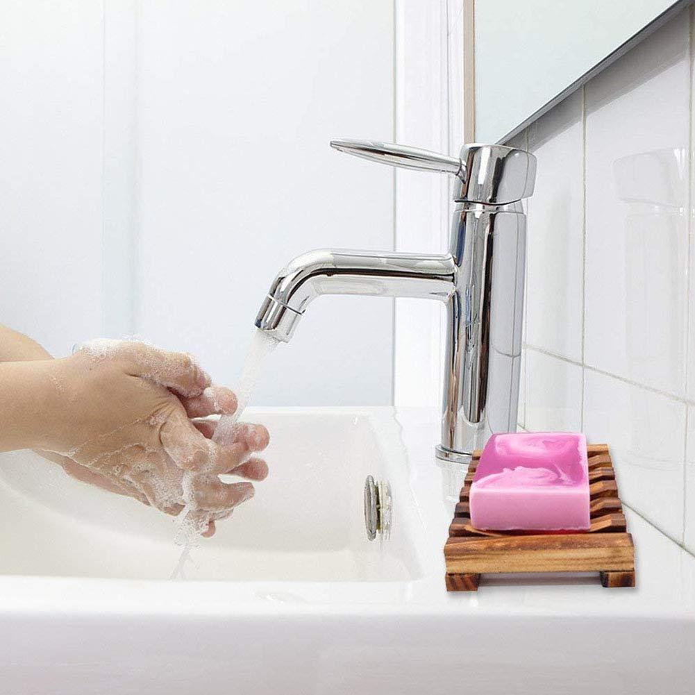 Scatola di Sapone in Legno Naturale INTVN Portasapone in Legno 4 Pezzi portasapone a Mano portasapone per lavabo