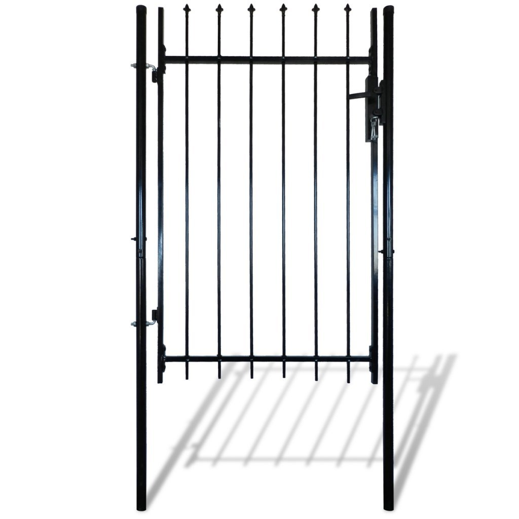 Festnight Outdoor Door Garden Fence Gate with Spear Top Black Heavy Duty Steel Door Fence Practical Barrier Wall with 3 Keys (39'' x 67'')