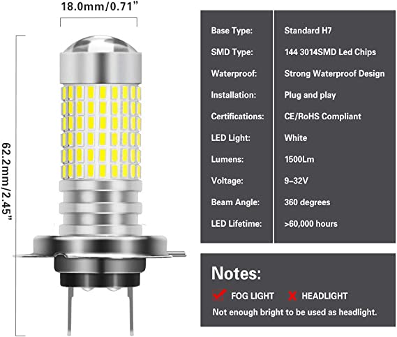 NGCAT 2PCS 1500 Lumens 3014SMD 144-EX Chipsets PSX24W Super Bright LED Bulbs with Lens Projector Fog Lights DRL Daytime Running Lights Turn Signals Back Up Reverse Lights,Xenon White 12-24V