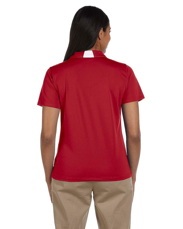 Harriton Ladies Side Blocked Micro-Piqu� Polo Shirt-XL Red//White