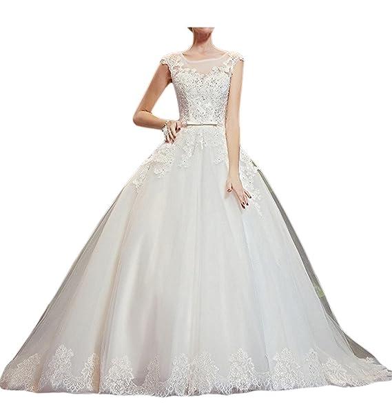 Gorgeous Bride Princesa Encaje de Tul vestido de novia de encaje de novia (hasta blanco