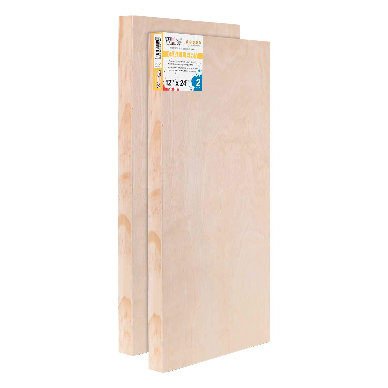 U.S. Art Supply 12'' x 24'' Birch Wood Paint Pouring Panel Boards, Gallery 1-1/2'' Deep Cradle (Pack of 2) - Artist Depth Wooden Wall Canvases - Painting Mixed-Media Craft, Acrylic, Oil, Encaustic