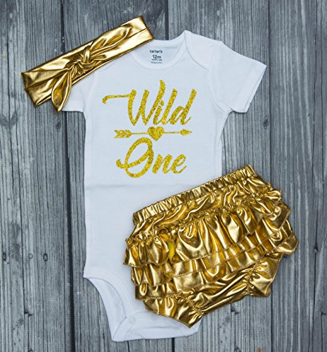 wild one birthday outfit - wild one bodysuit - wild one - first birthday - wild one outfit - birthday girl - gold birthday outfit - sequin bloomers - goldbloomers - wild one birthday shirt (Sequin One)