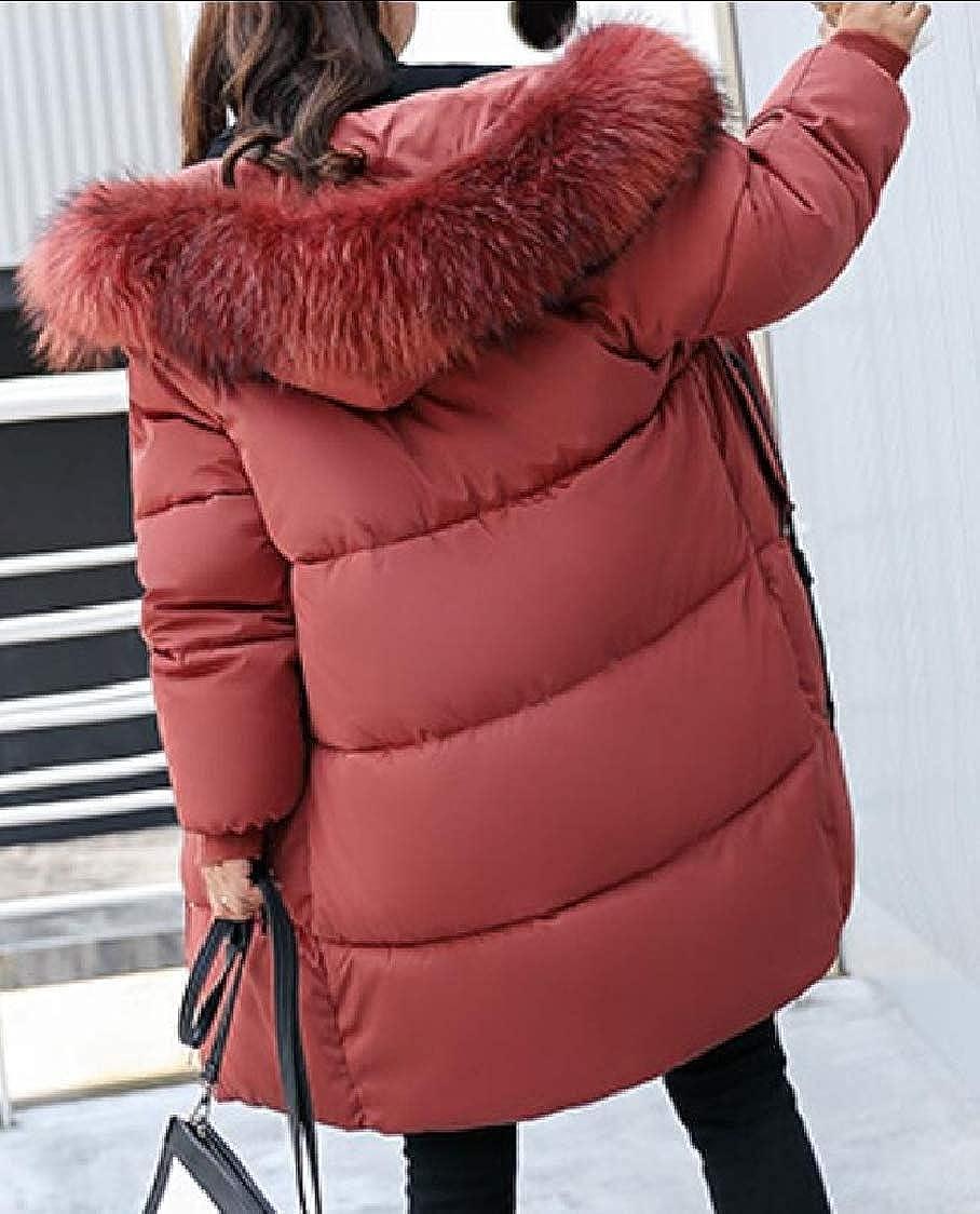 M/&S/&W Womens Down Thicken Faux Fur Hood Trim Jacket Parka Coat