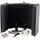 Studio Microphone Soundproofing Acoustic Foam Panel by Griffin | Soundproof Filter | Sound Diffusion Mic Booth Shield | Insulation Diffuser|Noise Deadening/Absorbing/Barrier for Audio Music Recording
