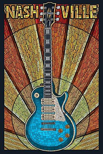 Nashville, Tennesseee - Guitar Mosaic (9x12 Fine Art Print, Home Wall Decor Artwork Poster)
