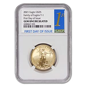 2021 1/2 oz Gold American Eagle Gem Uncirculated (First Day of Issue) by CoinFolio $25 GEMUNC NGC