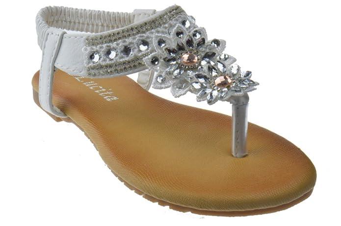 7f71bc87aa02 Pecko 1514KM Little Girls Gladiator Floral Rhinestone Comfort Flat Sandals  White 9  Amazon.ca  Shoes   Handbags