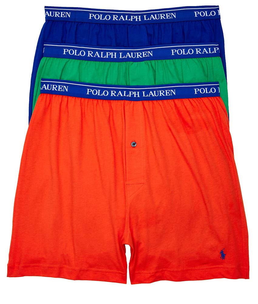 Polo Ralph Lauren Classic Fit Knit Boxers 3-Pack, L, Orange Rugby