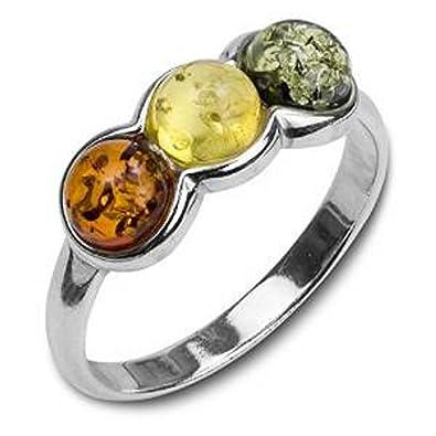 Multicolor Amber Sterling Silver B Ring, Sizes J, L, N, P, Q, S, T, V