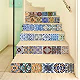 CaseFan Self-adhesive 3D Ceramic Tiles Patterns Staircases Sticker Vinyl Removable Waterproof Stairway Decoration Wall Decal Paper 100x18cm 6PCS/set (1 Set)