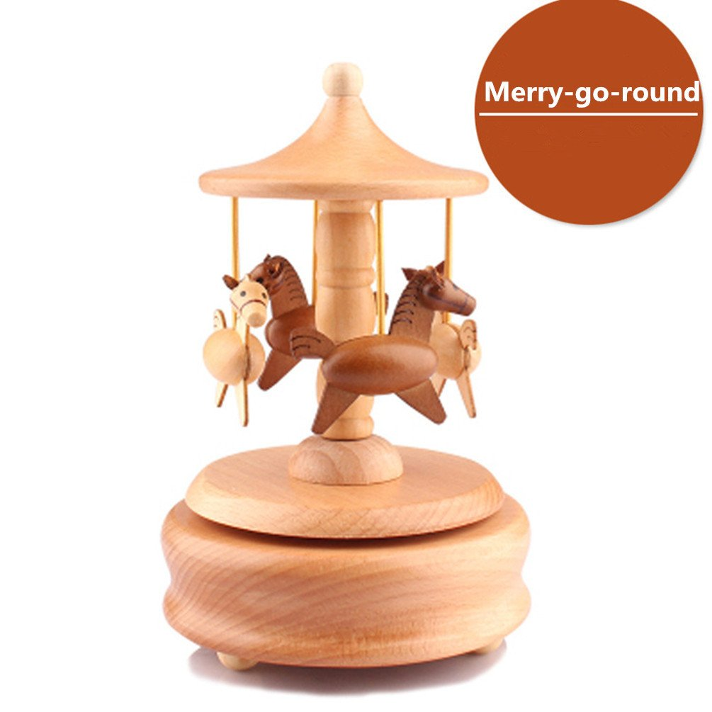 Solid Wooden Music Box Wood Music Boxes Merry-go-round Musical Box Christmas Birthday Gifts for Kids Baby Toddle CAROUSEL Design