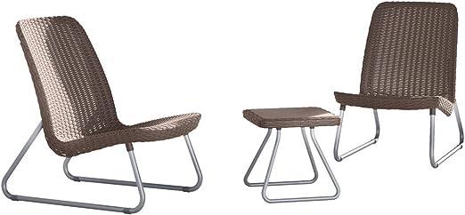 Keter Jeu de mobilier de patio 3 pcs Rio Cappuccino 218157 ...