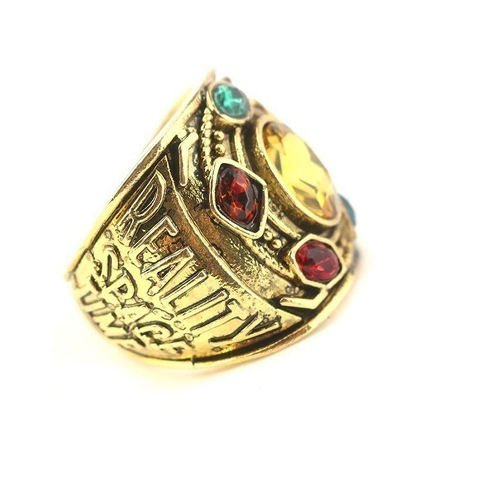 Mens Boys Infinity War Soul Stone Power Ring Gold Plated Letter Engagement Ring Cosplay Costume Prop Jewelry Haluoo Thanos Rings
