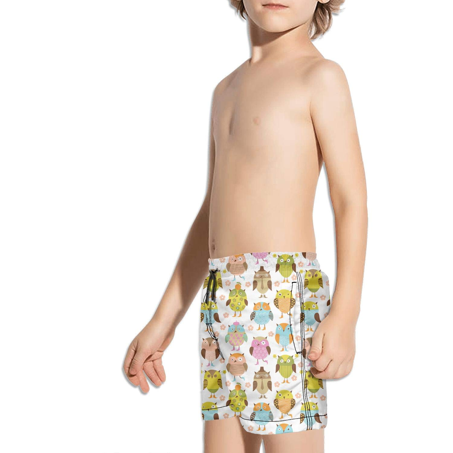 Boys Swim Trunks Funny owl Bird with Leaves Quick Dry Bathing Suits Beach Board Shorts