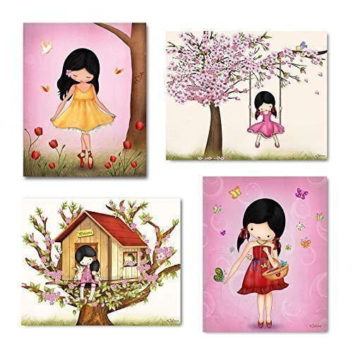 Wall Art for Girls Room Kids Bedroom Decor Pink Nursery Posters Cherry Blossom Tree Ballerina Artwork 8×10 Set of 4 Unframed Prints