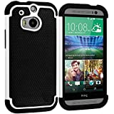 Warrior Wireless (TM) Black / White Hybrid Rugged Hard/Soft Case Cover for HTC One M8 + Bundle = (ITEM + CELLPHONE STAND) - By TheTargetBuys