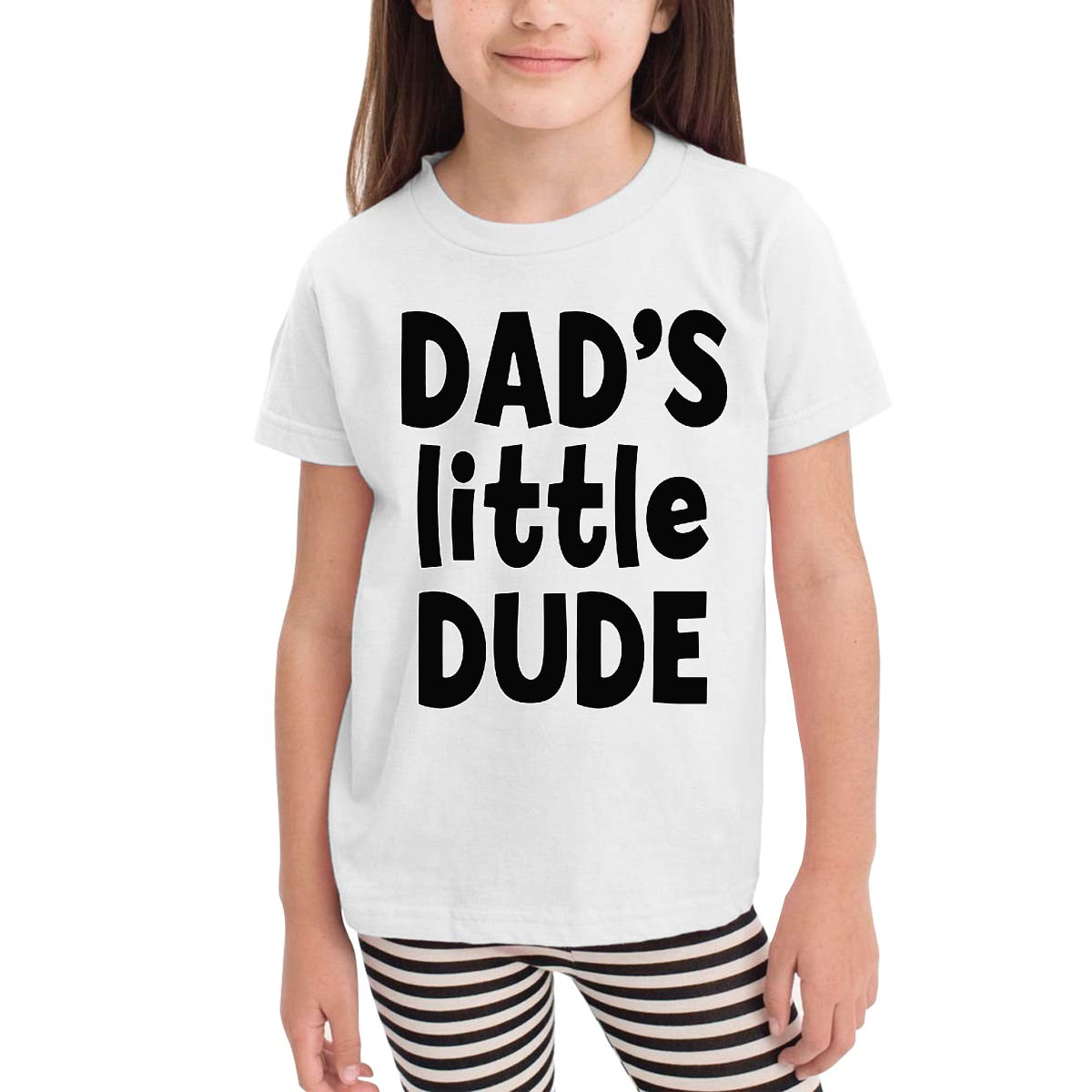 Dads Little Dude Toddler Kids Girls Boys Adorable T-Shirt Cotton Short Sleeve Graphic Tee 2-6 Years