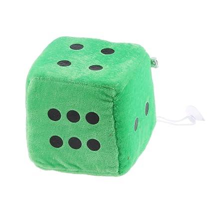 Juguetes Peluches Colgantes Forma de Dados 6 caras Ventana Percha Coche 4 Pulgadas - Verde